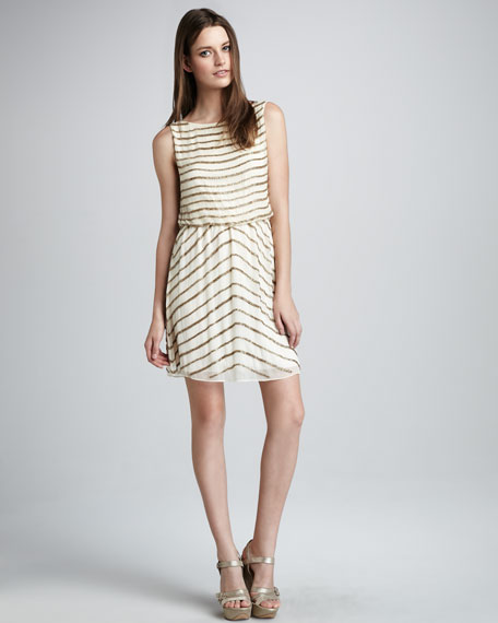 Gisele Bead-Stripe Dress