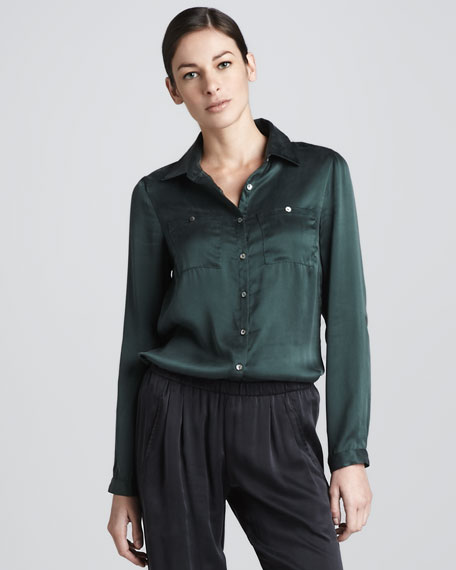 Silk Button-Front Shirt