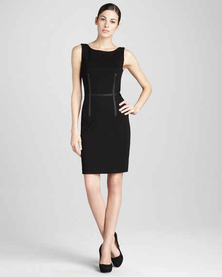 Ribbon-Trimmed Sheath Dress