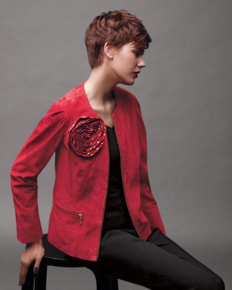 Studded-Rose Suede Jacket