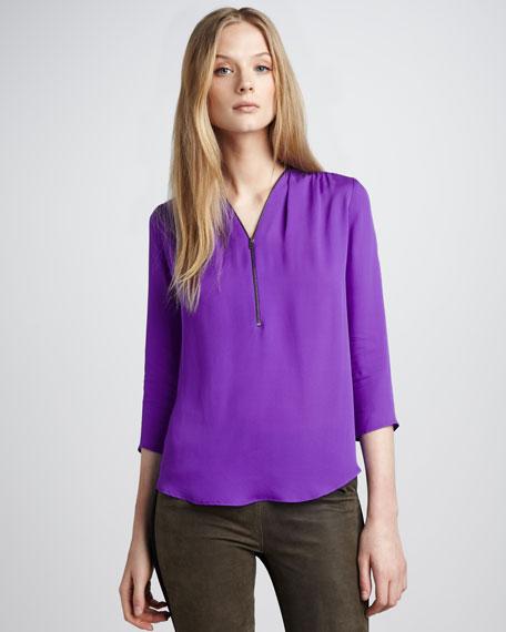 Silk Zip Blouse, Amethyst