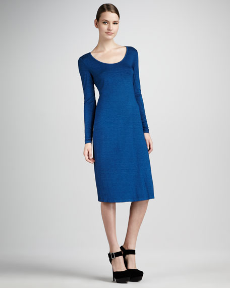 Scoop-Neck Long-Sleeve Dress