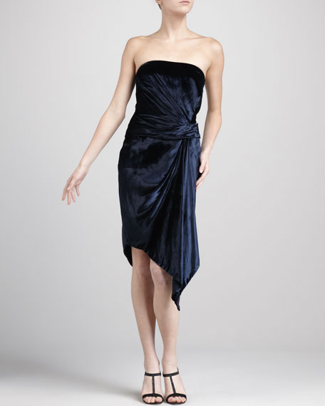 Strapless Liquid-Velvet Dress