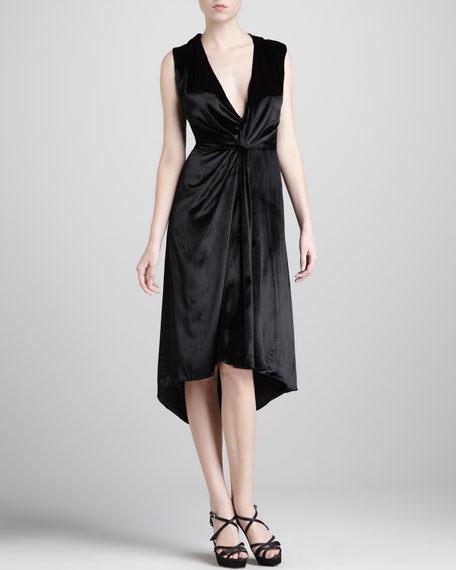 Liquid-Velvet V-Neck Dress