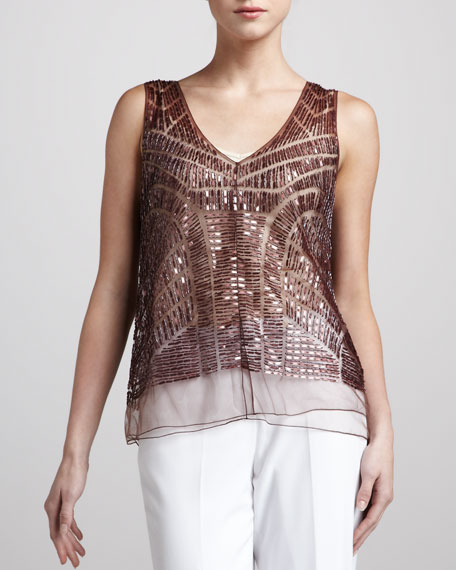 Sleeveless Beaded Tulle Top