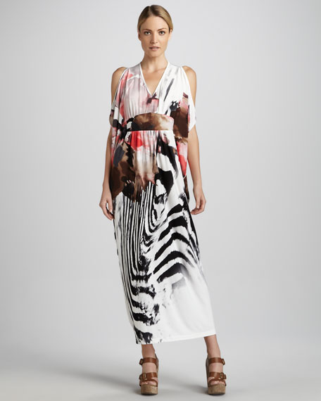 Zebra-Print Caftan Dress