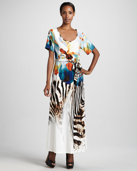 Exotic-Printed Maxi Dress