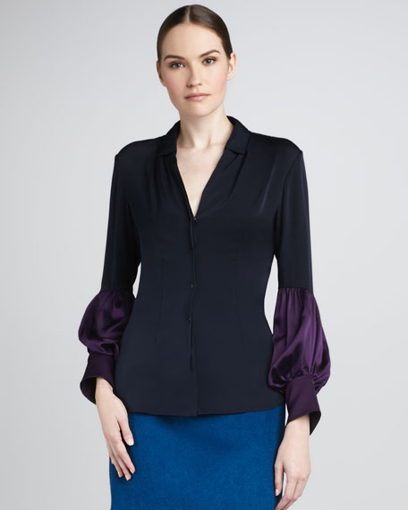Leona Satin-Sleeve Blouse