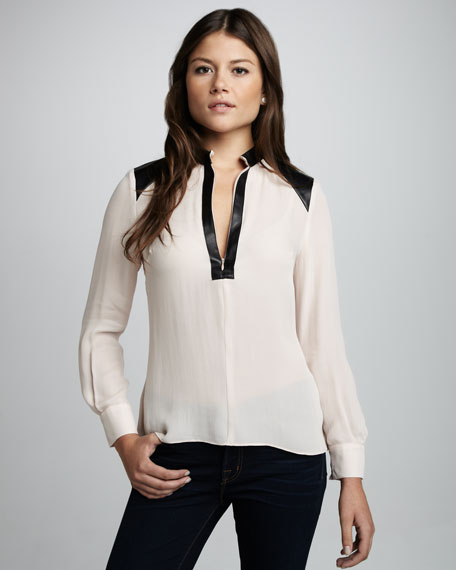 Leather-Trim Silk Blouse
