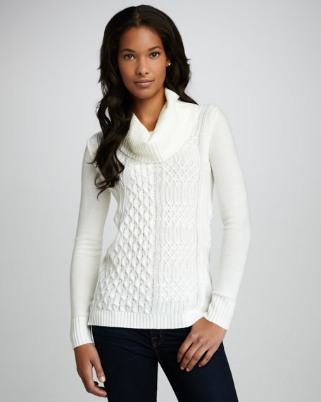 Ribbed Cable-Knit Sweater