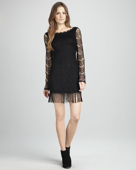 Fringe-Hem Lace Dress
