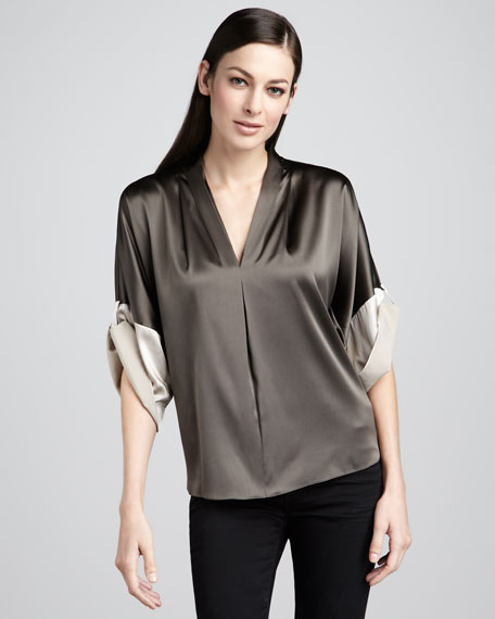 Sage Charmeuse Blouse