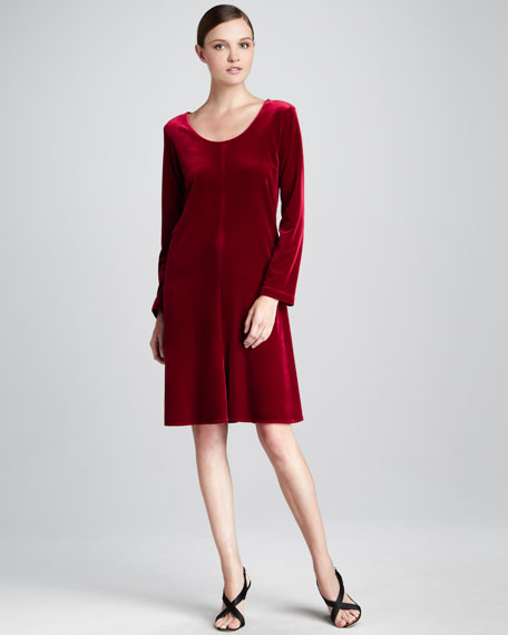 Velvet-Stretch Dress, Petite
