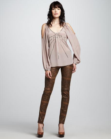 Jamison Snake-Print Leather Pants, Brown