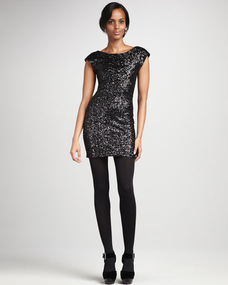 Amy Fitted Sequined Dress, Black
