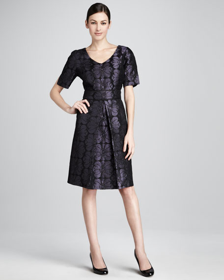 Floral-Jacquard Short-Sleeve Dress