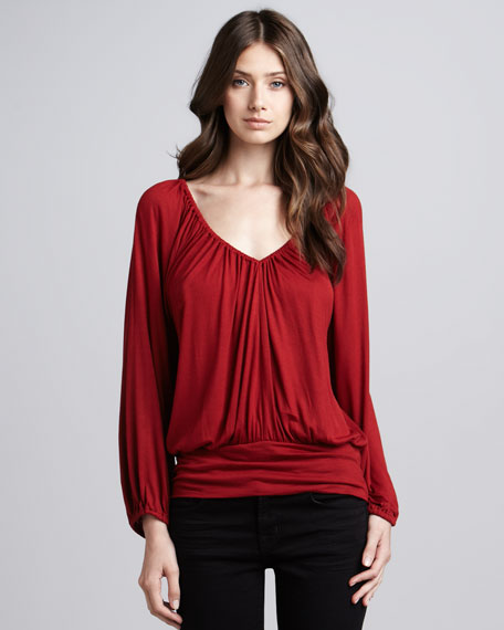 Masumi Blouson Top, Red
