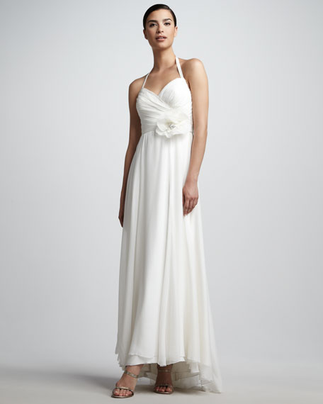 Shirred Halter Gown