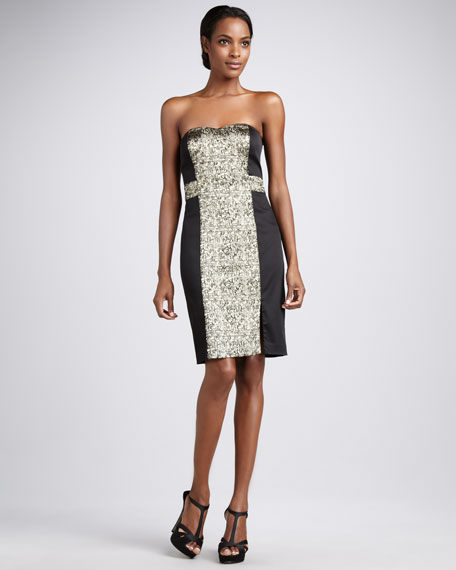 Jacquard-Panel Strapless Cocktail Dress