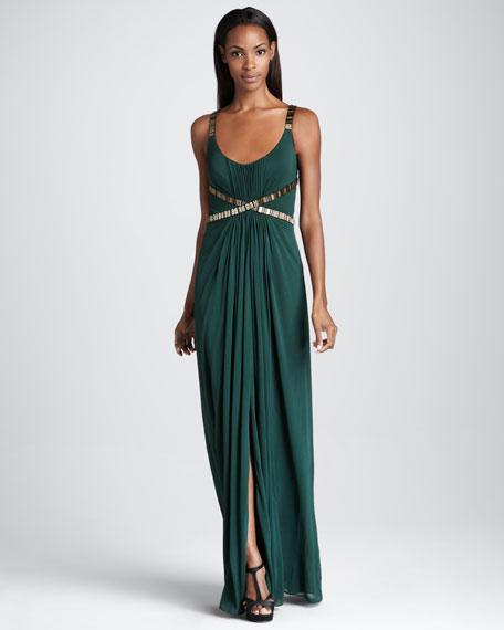 Bead-Waist Jersey Gown