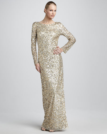 Sequined Column Gown