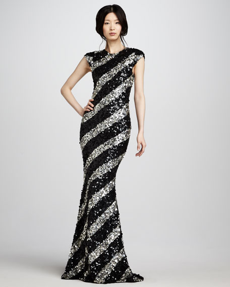 Sequin-Stripe Gown