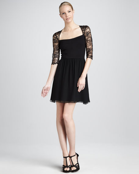 Lace-Sleeve Chiffon Dress