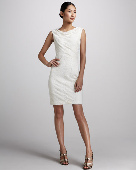 Sleeveless Textured Sheath Dress