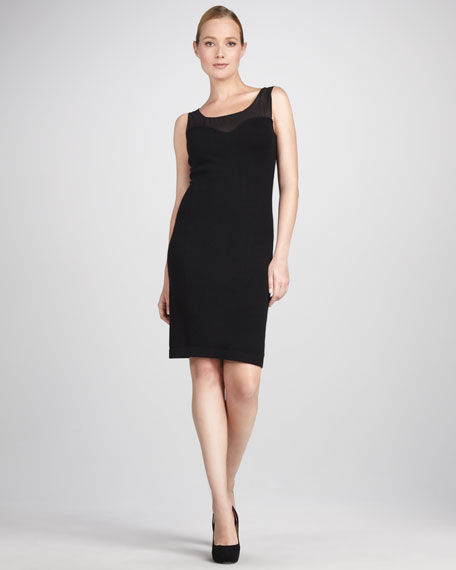 Sheer-Top Cashmere Dress