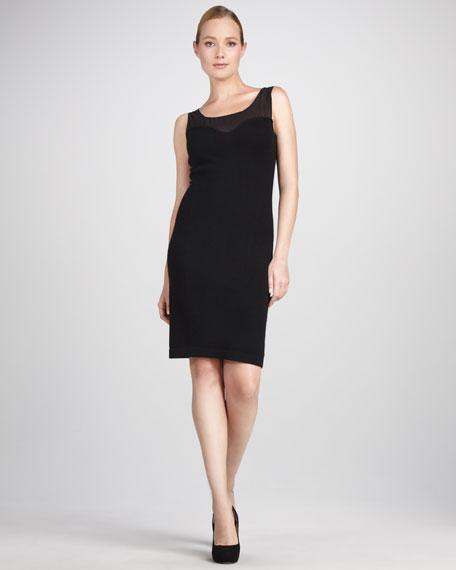 Sheer-Top Cashmere Dress