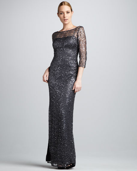 Women's Sequined Lace Gown, Smoke