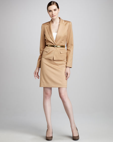 Belted Notch-Collar Suit