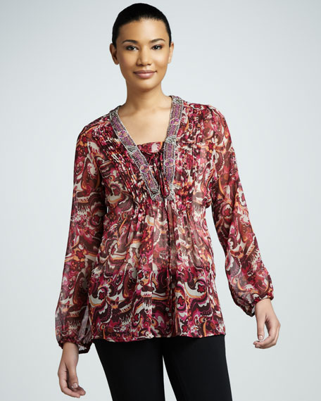 Beaded-Neck Print Blouse