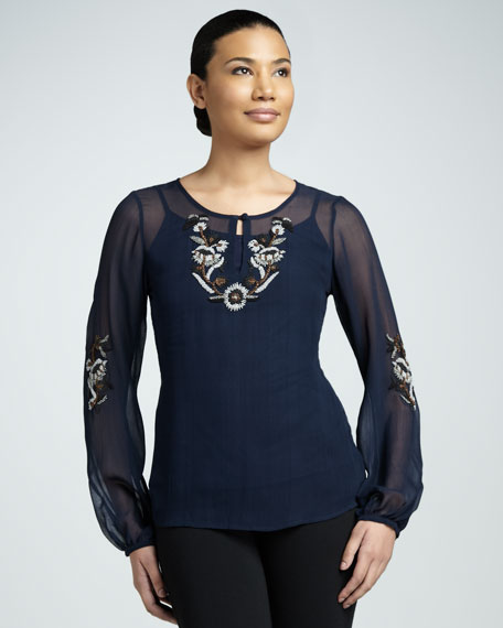 Sequined Keyhole Blouse