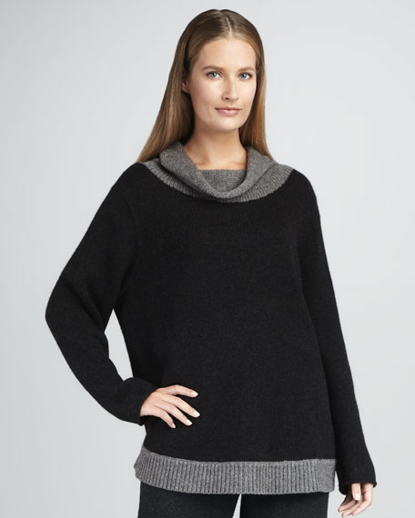 Funnel-Neck Colorblock Sweater, Women's