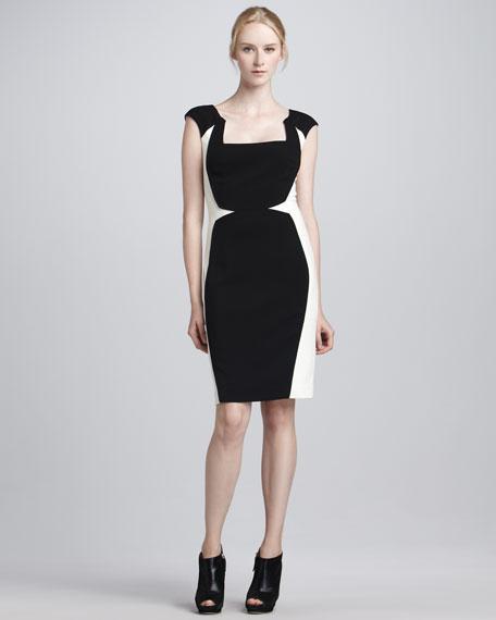 Cap-Sleeve Colorblock Sheath Dress
