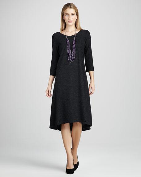 Wool Three-Quarter-Sleeve Dress, Petite