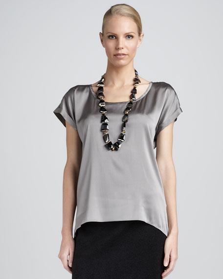 Stretch-Silk Scoop-Neck Top