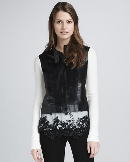 Leather/Knit Sweater