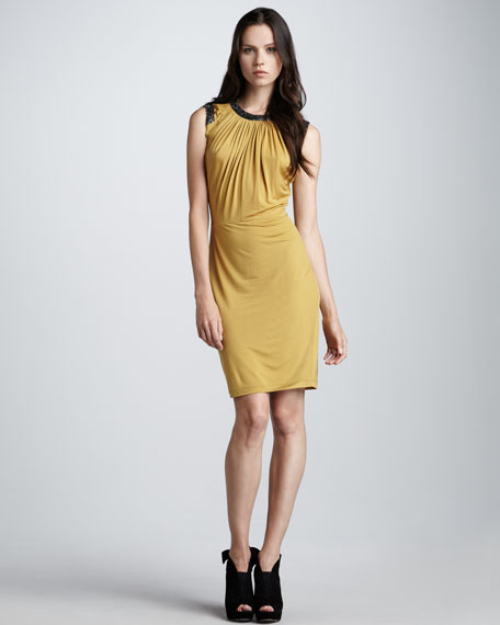 Bead-Trim Jersey Dress