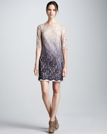 Ombre Lace Half-Sleeve Dress