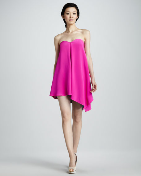 Strapless Asymmetric Cocktail Dress