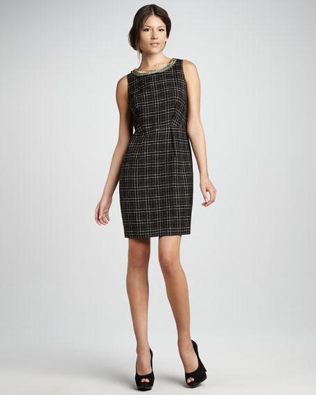 Plaid Boucle Sheath Dress