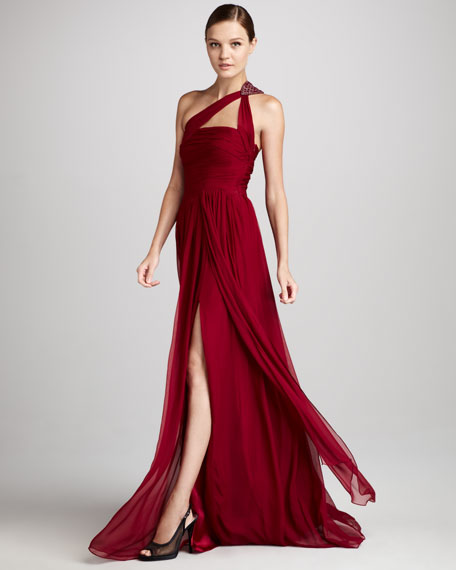 One-Shoulder Beaded Chiffon Gown