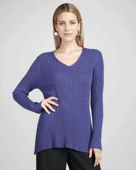 Ribbed V-Neck Tunic, Women's