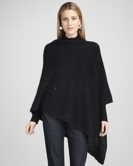 Sequined Knit Poncho
