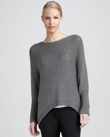 Asymmetric Organic Cotton Crimp Sweater