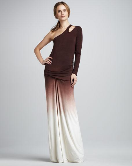 Vinny One-Shoulder Ombre Maxi Dress