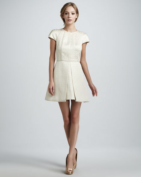 Pleated Jacquard Dress