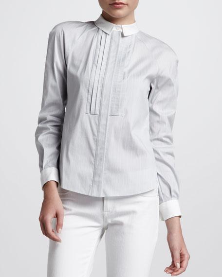Pleated Bib Poplin Shirt